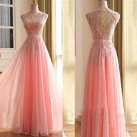 Wholesale Pictures Red Hearts - Prom Dresses Light Pink Custom Made Prom Dress Sheer Jewel Neck Lace Appliques Illusion Top Heart Shaped Back Floor Length Evening Gown