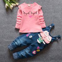 Wholesale Models Girls Korean - Piece girls spring 2016 new Korean female baby cotton long-sleeved overalls suit tide explosion models 80 --- 110