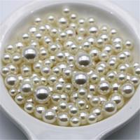 matériaux de bijoux faits à la main achat en gros de-Beige blanc couleur bricolage perlé à la main bijoux accessoires matériel ABS imitation perles perles dispersées semi-trou perles B0274