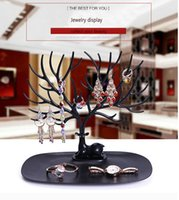 Wholesale Pearl Plastic Material - New Listing Jewelry Display Deer Shape so Cute Earrings , Ring Display Stand Holder With Plastic Material 9.03**9.84inch deer form display
