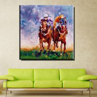 Wholesale abstract horse - ZZ990 modern abstract canvas art colorful man riding horses canvas pictures oil art painting for livingroom bedroom decoration