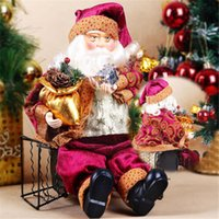 Wholesale Soft Ornaments - High Quality 35cm Christmas Sitting Santa Claus Doll Figurine Toy Home Room Ornament Decoration Decor gift