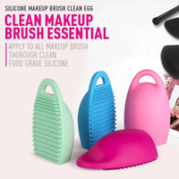 Wholesale scrubber gloves - TOP 4 Colors Brushegg Cleaning Makeup Washing Brush Silica Glove Scrubber Board Cosmetic Clean Tools for Travel Life
