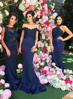 Wholesale Cheap Silk Dresses - 2017 Navy Cheap New Lace Bodice Mermaid Bridesmaid Dresses Halter Off Shoulders Crew Neck Backless Beaded Elegant Maid of the Honor Dresses