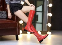 Wholesale Womens Fashion Rain Boots - Luxury Tops H Womens Knee Boots Winter Full Grain Leather Ladies Rain Waterproof Knee High Boots Zip Cool Size 35-40