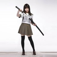 Wholesale Long Sleeve Anime Uniform - Shakugan no Shana Flame Haired Red Hot Eyed Hunter Cosplay Costume Long Sleeve School Uniform Army Green Sailor Uniform