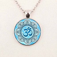 Wholesale namaste necklace - Wholesale glass dome necklace vintage Namaste Necklace Yoga Jewelry Lotus Flower glass cabochon dome pendant