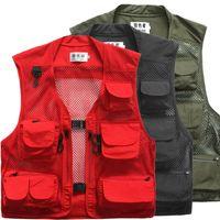 Wholesale photographer multi pocket vest for sale - Group buy Plus Size Multi Pockets Fishing Vest Summer Breathable Outdoor Hiking Photography Vest Waistcoat For Photographer VT
