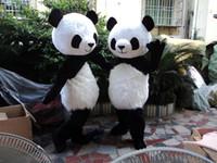 Wholesale Ems Free Chiffon - Hot sale Professional PANDA BEAR Mascot Costume Adult Size (black long plush ) EMS free shipping