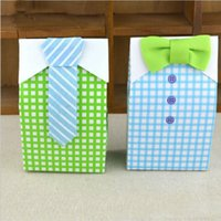 Wholesale Blue Treat Bags - 1000pcs  lot Little Man Blue Green Bow Tie Birthday Boy Baby Shower Favor Candy Treat Bag Wedding Favors Candy Box Gift Bags ZA0969