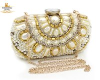 Vintage Women Cocktail Handbag Crystal Rhinestone Evening Clutch Bag Bolsa Carteira Beaded Casamento Metal Hard Box Shoulder Chain Maquiagem Kit