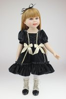 Lovely 18 Inch Full Body Vinyl American Girls Fantaisie Reborn Poupées Wearing Dark Dress Toddlers Birthday Xmas New Year Gift