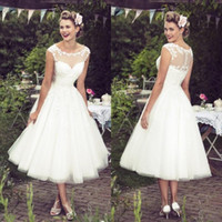 Wholesale Wedding Dress Modest Bateau - New Short Beach Wedding Dresses 2016 Sheer Neck Appliques Lace A Line Tea Length Modest Bohemian Bridal Gowns Vestidos De Noiva Custom Made