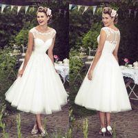 Wholesale simple lace bridal wedding dress for sale - New Short Beach Wedding Dresses Sheer Neck Appliques Lace A Line Tea Length Modest Bohemian Bridal Gowns Vestidos De Noiva Cheap Custom