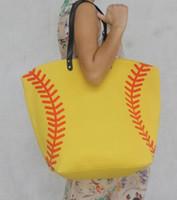 Wholesale badminton jewelry - 2018 shopping bag black yellow softball white baseball Jewelry Packaging Blanks Kids Cotton Canvas Sports Baseball Softball Tote Bag