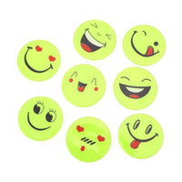 Wholesale Cycling Stickers - Wholesale- Bicycle Bike Cycling Reflective Smiling Face Pattern Bike Night Riding Stickers