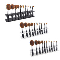 Wholesale Wood Display Racks Wholesale - 10pcs Toothbrush Oval Makeup Brushes Display Holder Stand Storage Boxes Organizer Curve Brush Showing Rack Mermaid 2805110