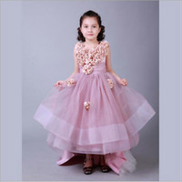 Wholesale Girl Baby Dress Collections - 2016 New Collection Little Princess Dress Baby With Handmade Flowers Ball Gown Zip Back Flower Girl Dresses Custom Made