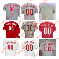 Wholesale Mens Camo Shorts - Mens Cincinnati #2 Zack Cozart Gennett Votto Custom White Pullover Camo Red Gray Any Name Any Number Stitched Jersey S-4XL