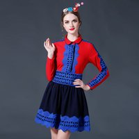 Wholesale Matching Umbrella - 2016 spring clothing new style woman Heavy industries hollow out Stitching lace Color matching umbrella one-piece dress