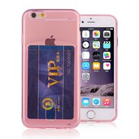Wholesale Transparent Cards Wallet - Ultra-thin transparent soft tpu case with business wallet card slots phone cover for iPhone 6 Plus 7 7Plus