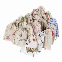 Wholesale Empty Gift Bag - Printed Linen Cotton Drawstring Bags Empty Pocket Jewelry Gift Bag Flower Sachet Bag Sack