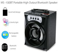 Alta qualità originale MS-132BT Mini portatile senza fili Bluetooth altoparlante quadrato supporto FM Radio LED Shinning TF / Micro SD Card Riproduzione di musica