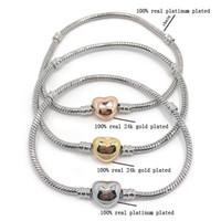 pulsera 24k al por mayor-A estrenar de alta calidad 100% plateini plateó la cadena de la serpiente 100% 24k chapado en oro en forma de corazón pulsera de corchete fit pandora moda pulsera DIY