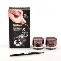 Wholesale 2in1 eyeliner - 2in1 Music Flower Fascinated Eyebrow & Eyeliner cream black+brown 2 color waterproof eyebrow eyeline cream makeup eyebrow(0605045)