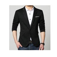 Wholesale Pea Suit - Wholesale-New suit men 4 colors casual jacket terno masculino latest coat designs blazers men clothing pea coats M-4XL 5XL 6XL