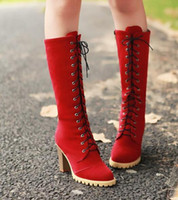 Wholesale Kitten Heel Red Boots - Fall and winter new fashion lace high - heeled Martin boots with high boots long boots with boots boots