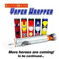 autocollants de héros achat en gros de-Autocollants d'accessoires de cigarette électronique pour 18650 batterie Wolverine Spider Man Capitaine Amérique Super Hero Vaper Wrapper pour 18650 batterie