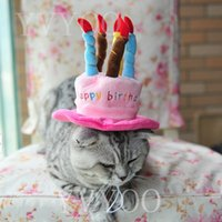 spring candle - Caps For Dogs Pet Cat Dog Birthday Caps Hat with Cake Candles Design Birthday Party Costume Headwear Accessory Goods For Dogs