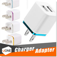 Wholesale Ipad Notes - For iPhone 6 7 Plus Metal Dual USB wall US plug 2.1A AC Power Adapter Wall Charger Plug 2 port for samsung galaxy note LG tablet ipad