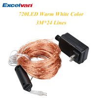 Wholesale Light Bulb Adapter Leds - Excelvan 720 LEDs Copper Wire String Lights 30 LEDs x 24 Strings Starry Lights Copper Wire with Power Adapter For Wedding <$18 no tracking