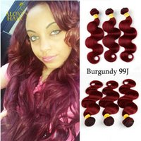 Wholesale Hair Extensions 22 Inch Red - Burgundy Brazilian Body Wave Virgin Human Hair Weave Bundles Wine Red 99J Peruvian Malaysian Indian Cambodian Hair Extensions Double Wefts