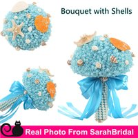 Wholesale Christmas Bows For Sale Cheap - 2016 Summer Beach Bridal Wedding Prom Bouquets with Shells Pearls for Brides Bridesmaid Holding Flowers Sale Cheap Luxury Ribbon Bow Cheap