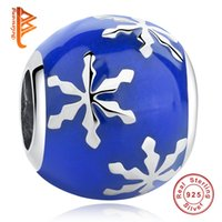 Wholesale Enamel Snowflake Charms - BELAWANGReal 925 Sterling Silver Blue Enamel Round Bead Charms Fit Pandora Bracelets & Bangles Jewelry snowflake Charms for women Jewelry