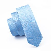 Wholesale Dressing E - Fashion Slim Tie Sky Blue Paisley Skinny Narrow Gravata Silk Neck Ties For Men 5.5cm Width Wedding Dress Suit Tie E-236