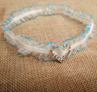Wholesale Blue Rhinestone Garter - Vintage Bridal Garter Wedding Lace Garter Toss Garter with rhinestones Something Blue Bridal Accessories