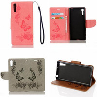 Wholesale silicone vibe - For Sony Xperia XZ X Compact Lenovo Vibe C2 A2020 Strap Wallet Flip Leather Pouch Case ID Card Holder Stand TPU Flower Butterfly Skin Cover