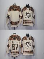 Wholesale Hooded Sweatshirt Blank - Newest Wholesale Men's Pittsburgh Penguins #87 Sidney Crosby Blank Beige Hooded Jerseys Hockey Hoodies Sweatshirts