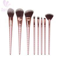 Wholesale golden rose cosmetics - Ismine Rose Gold 8 Pcs Makeup Brush Set Nylon Hair Eyebrow Eyeshadow Powder Brush Rose Golden Portable Brushes Cosmetic Tools
