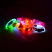 Wholesale Silicone Flashing Led - Voice Activated Sound Control Led Flashing Silicone Bracelet Wristband vibration control Arm Band For Party Halloween Concert Decoration