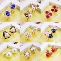 Wholesale Starfish Pearl Stud Earrings - Pearl Crystal Oil Drip Flower Blue Red Cherry Starfish Stud Earrings Family Friends Party Banquet Lovely Cute Women Girls