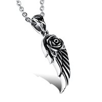 Vintage Necklace Men Stainless Steel Necklace Colares pingente de moda w / Angel Wings Cool Men Jewelry Gift atacado FGX974