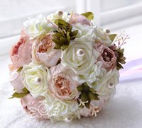 Wholesale Wedding Bouquet Bridesmaid - Chocolate Pink Peony Artificial Bridal Flower Wedding Bouquet Flowers Bridal Brooch Bouquet buque de noiva Bridesmaid Flower Bouquet