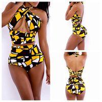 Wholesale Sexy Bathing Suit Criss Cross - 2016 Sexy Wrap Bandage Bikini Criss Cross High Waisted Swimwear Women Bathing Suit Swimsuit Maillot De Bain