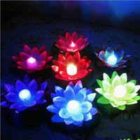 Wholesale artificial floating candles resale online - Artificial LED Candle Floating Lotus Flower With Colorful Changed Lights For Birthday Wedding Party Decorations Supplies Ornament