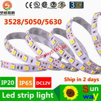 Wholesale 12v Leds Strips - High Birght 5M 5050 3528 5630 Led Strips Light Warm Pure White Red Green RGB Flexible 5M Roll 300 Leds 12V outdoor Ribbon